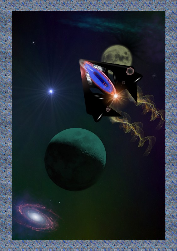 spaceship and planets