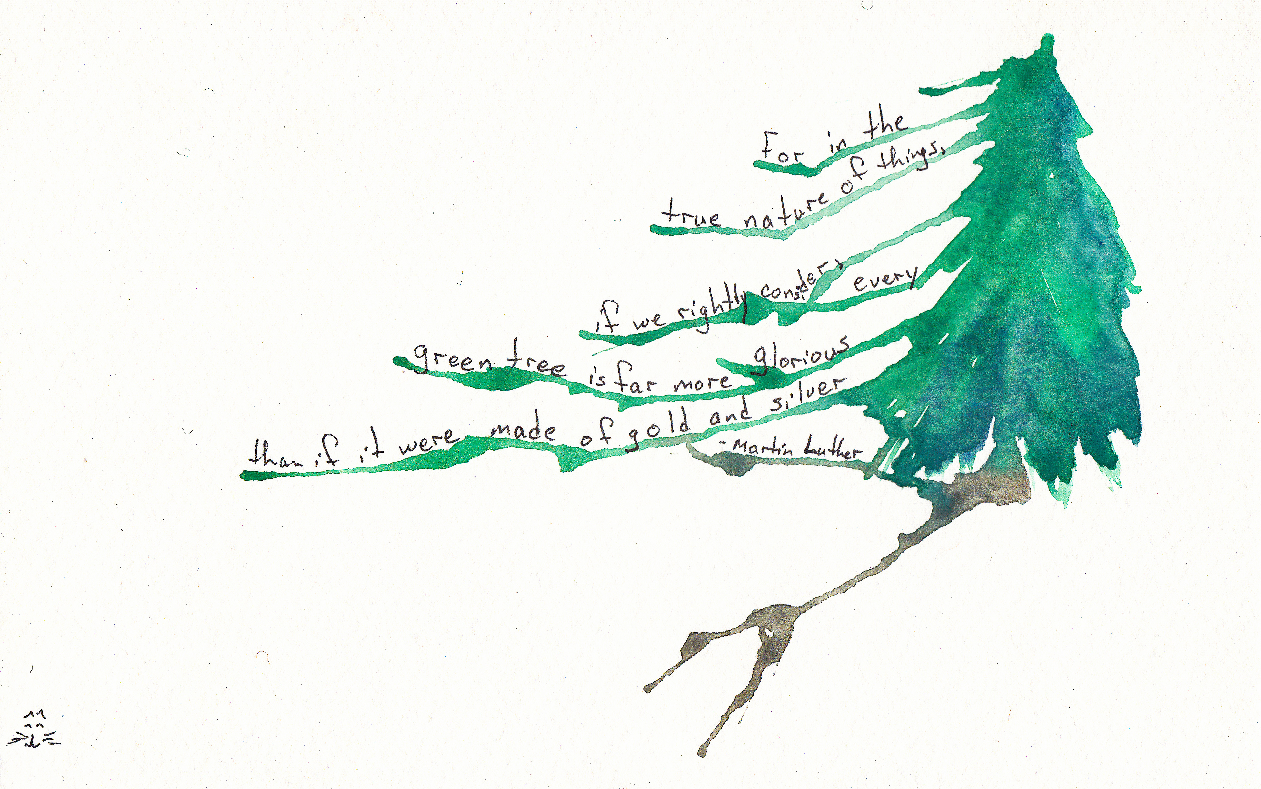 Original Art Tree Watercolor Cedar Writes